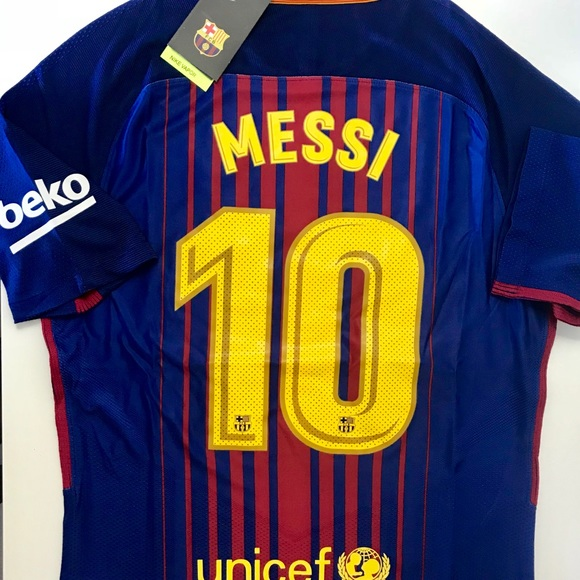 new concept 01090 a4f4b MESSI BARCELONA HOME 17/18 PLAYER SOCCER JERSEY NWT